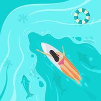 vrouw zwemt vanuit bovenaanzicht vector