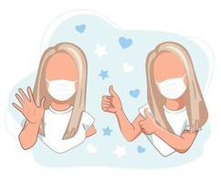 meisjes met medische maskers met duimen omhoog en begroetingsgebaren vector