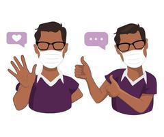 Afro-Amerikaanse mannen in medicijnmaskers met duimen omhoog en welkomstgebaren vector