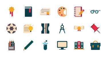 set van levering briefpapier onderwijs school pictogram ontwerp vector