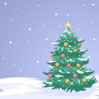 Mid Century Christmas Tree besneeuwde penseelstijlen vector