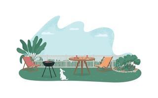 achtertuin barbecue 2d vector webbanner