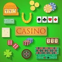 casino elementen platte ontwerp moderne vectorillustratie van casino artikelen, gokfiches, pokerkaarten, roulette, geld, dobbelstenen, aas, munt, contant geld, hoefijzer, bandiet, klaver, loterij pictogrammen met lange schaduw vector