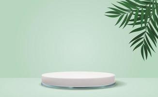 witte 3D-voetstukachtergrond met realistische palmbladeren voor cosmetische productpresentatie of modetijdschrift vector