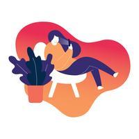 Vrouwen Comfortabele Zitting op Moderne Stoel Vectorillustratie