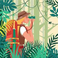 Vrouw die in het Jungle Holding Knife en een Verrekijker loopt vector