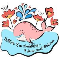 roze walvis met spatten en harten vector