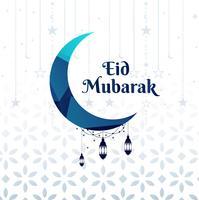 Mooie maan eid Mubarak achtergrond vector