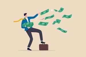 succes en rijk fortuin investeringswinst voor ondernemers en het verdienen van een stimuleringsconcept voor monetair beleid. gelukkige zakenman miljonair gooit stapel geld weg. bankbiljetten vliegen de lucht in vector