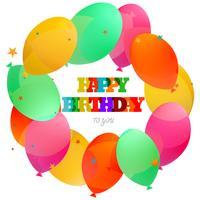 Gelukkige verjaardagskaartviering met ballonsachtergrond