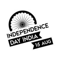 india onafhankelijkheidsdag viering met ashoka chakra met lint silhouet stijl vector