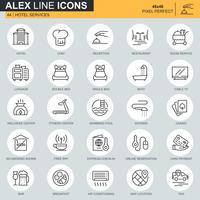 Dunne lijn hotelservices pictogrammen instellen voor website en mobiele site en apps. Bevat pictogrammen zoals bagage, receptie, roomservices. 48x48 Pixel Perfect. Bewerkbare lijn. Vector illustratie.