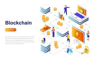 Blockchain moderne platte ontwerp isometrische concept. Cryptocurrency en mensenconcept. Bestemmingspaginasjabloon.