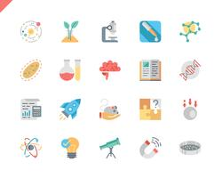 Simple Set Science Flat Icons voor website en mobiele apps. 48x48 Pixel Perfect. Vector illustratie.