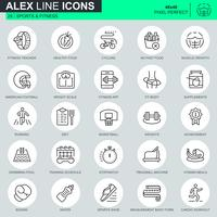 Dunne lijn sport en fitness pictogrammen instellen voor website en mobiele site en apps. Bevat iconen zoals Fit Body, Zwemmen, Fitness App. 48x48 Pixel Perfect. Bewerkbare lijn. Vector illustratie.