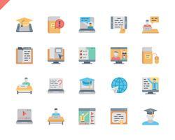 Eenvoudige set online onderwijs plat pictogrammen voor website en mobiele apps. 48x48 Pixel Perfect. Vector illustratie.