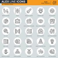 Dunne lijn ontwerptools, kunst- en mediapictogrammen ingesteld voor website en mobiele site en apps. Bevat iconen zoals innovatie, visie, schilderen. 48x48 Pixel Perfect. Bewerkbare lijn. Vector illustratie.