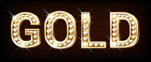 woord goud gemaakt van gouden letters met diamanten in de vorm van een hart. vector