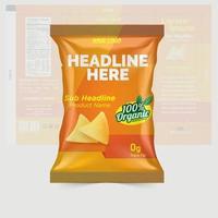 Aardappelchips en droog fruit pakketontwerp foliezakken geïsoleerd op een witte achtergrond in 3d illustratie vector