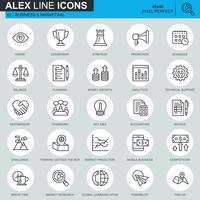 Dunne lijn bedrijfs en marketing pictogrammen die voor website en mobiele plaats en apps worden geplaatst. Bevat pictogrammen zoals leiderschap, visie, boekhouding. 48x48 Pixel Perfect. Bewerkbare lijn. Vector illustratie.