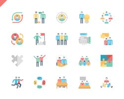 Simple Set Teamwork Flat Icons voor website en mobiele apps. 48x48 Pixel Perfect. Vector illustratie.
