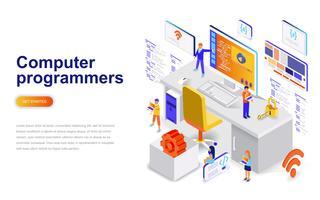 Computer programmeurs moderne platte ontwerp isometrische concept. Softwareontwikkeling en mensenconcept. Bestemmingspaginasjabloon.