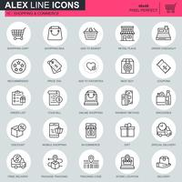 Dunne lijn online winkelen en e-commerce pictogrammen instellen voor website en mobiele site en apps. Bevat pictogrammen zoals mand, levering, prijskaartje. 48x48 Pixel Perfect. Bewerkbare lijn. Vector illustratie.