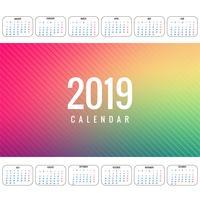 Elegante kalender kleurrijke 2019 sjabloonontwerp vector