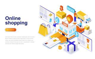 Online winkelen moderne platte ontwerp isometrische concept. Verkoop, consumentisme en mensenconcept. Bestemmingspaginasjabloon.