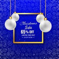 De vrolijke achtergrond van de Kerstmisverkoop met Kerstmisbal en blauwe bac