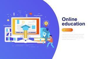 Online het conceptenbanner van het onderwijs moderne vlakke concept met verfraaid klein mensenkarakter. Bestemmingspaginasjabloon.