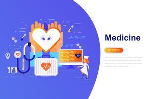 Geneeskunde en gezondheidszorg moderne platte concept webbanner met ingerichte kleine mensen teken. Bestemmingspaginasjabloon.