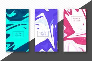 Marmeren vloeibare textuur kleurrijke headers geplaatst ontwerp vector