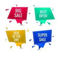 Kleurrijk verkoopbanner vastgesteld vectorontwerp