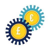 euro en sterling ponden munten versnellingen vlakke stijl vector