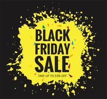 Moderne Black Friday-banner met geel grunge vectorontwerp vector
