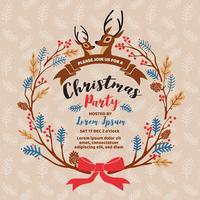 Vrolijk kerstfeest uitnodiging kaart ontwerp. Vector illustratio