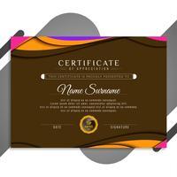 Ontwerp van de abstracte stijlvolle golvende certificaatsjabloon