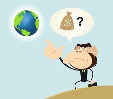 Gorilla zakenman willen geld verdienen met de aarde vector