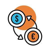 dollar en euromunt met pijllijn en vulstijl vector