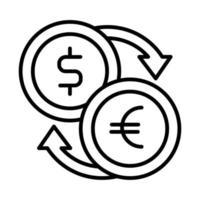 lijnstijl dollar en euromunten vector
