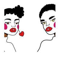 afro meisjes paar mode popart lijnstijl vector