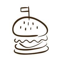 hamburger fastfood lijn stijlicoon vector