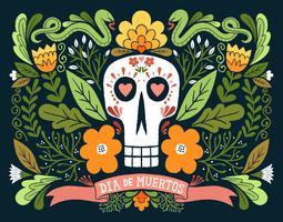 dia de muertos schedel vector