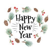 Leuke Kerst Bladeren Met Gelukkig Nieuwjaar Tekst vector