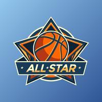 alle sterren basketbal logo vector