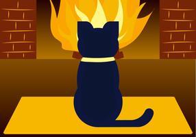 Kat bij de open haard