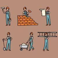 Mannen werken aan een fabriek vector