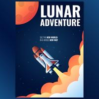 Buitenste ruimteschip Rocket Poster sjabloon vector