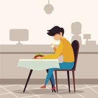 mensen die in restaurant eten vector
